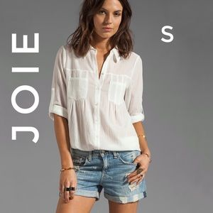 Joie Pinot Crinkled Cotton Button Up Blouse